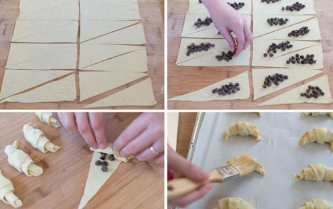 заворачивание шоколада в тесто