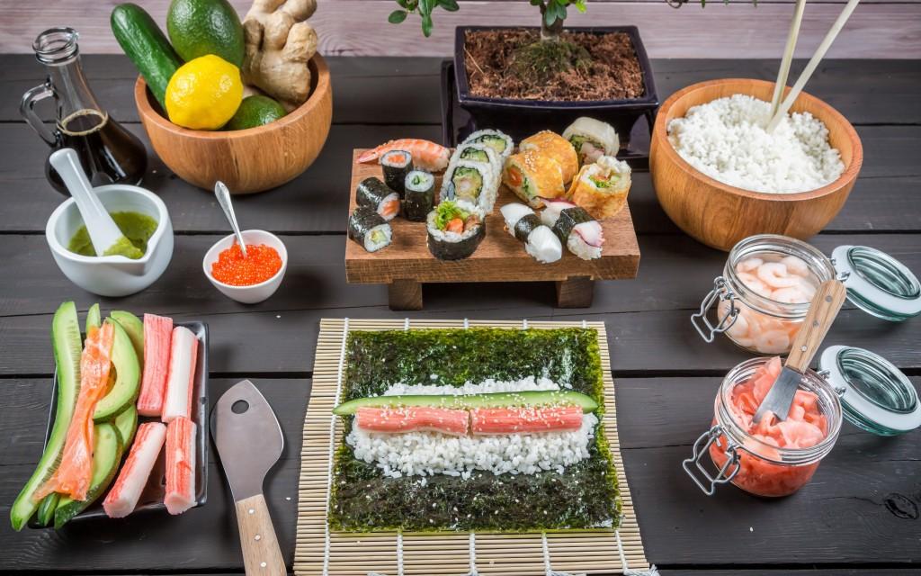 необходимые ингредиенты для японского блюда