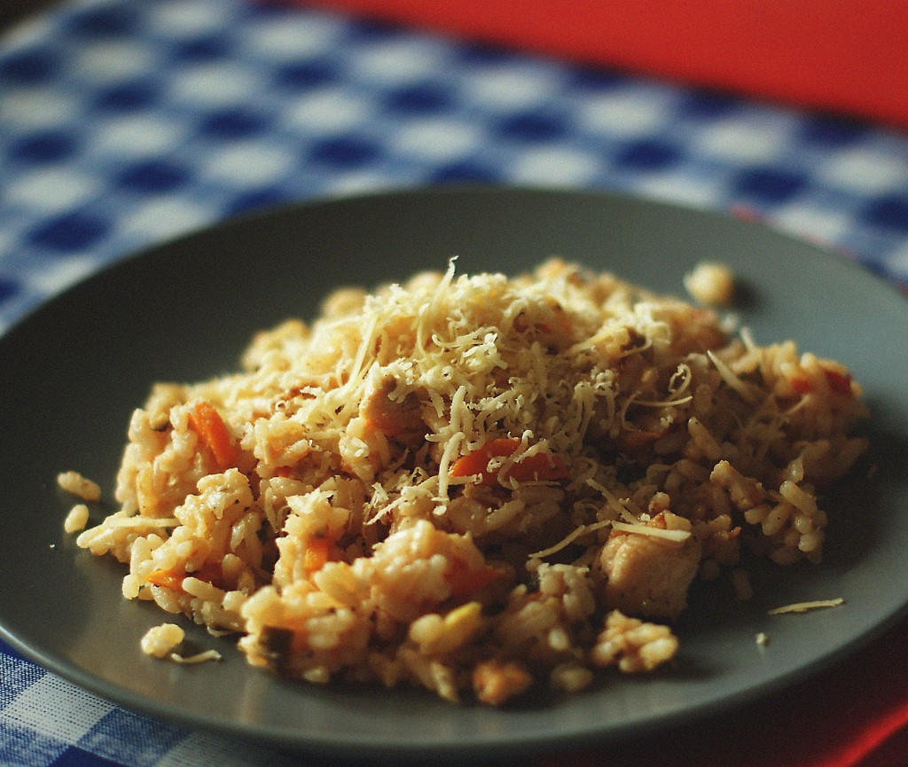 блюдо с курицей и грибами