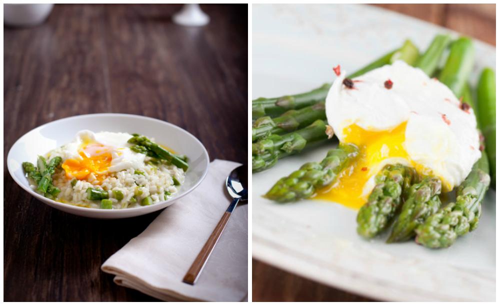 яйца-пашот с рисом и спаржей