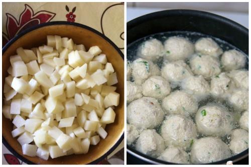 картофель и мясные шарики