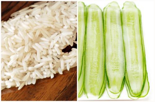 рис и ломтики огурца