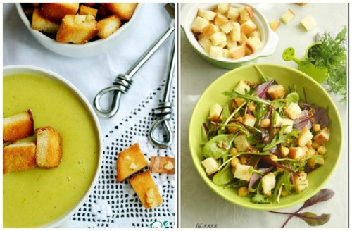 суп и салат с французскими сухариками