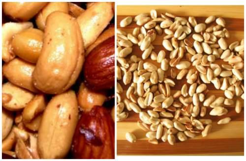 орешки на разделочной доске