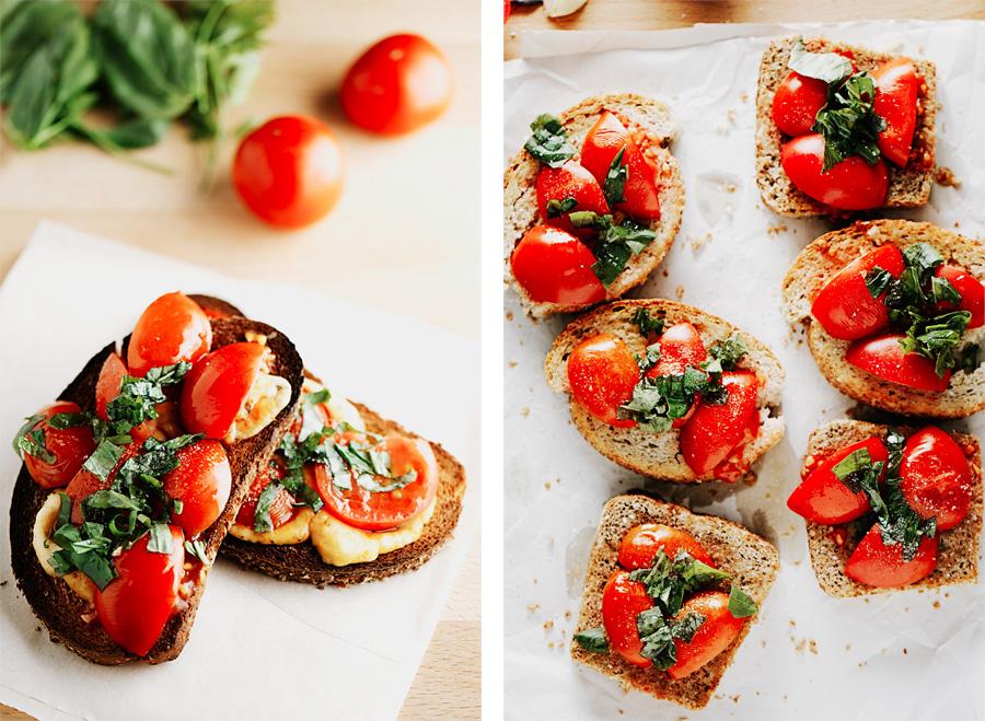 вкусные закуски с томатом и базиликом