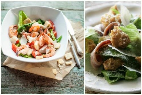 салат с анчоусами и креветками