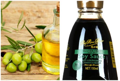 соевый соус и оливковое масло