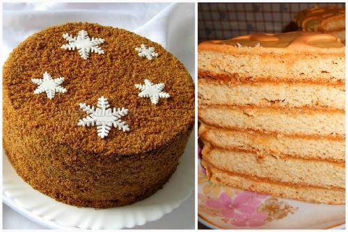 Готовый украшенный тортик и кусочек со сгущенкой