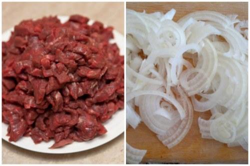 Нарезанное мясо и лук