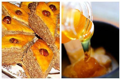 Нарезанный ромбиками десерт и сироп