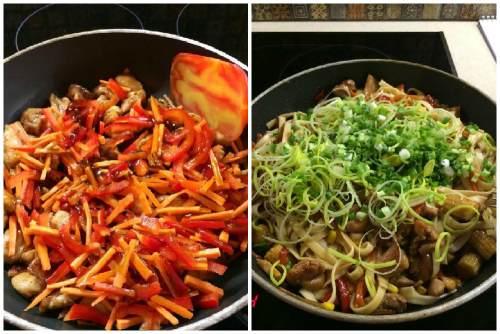 Мясо, овощи и зелень