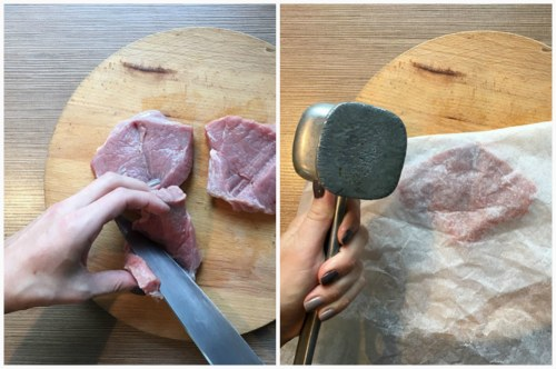 Нарезка и отбивание говядинки плоским молоточком