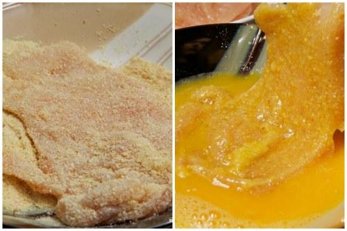 Процесс панировки в сухарях и льезоне