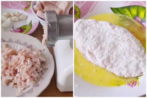 Производство фарша и погружение заготовки в яйцо