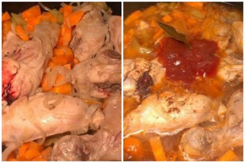 Мясо и овощи заливаем водой и добавляем томатную пасту