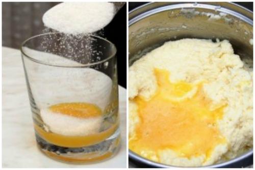 Добавление желтков с сахаром в маночку