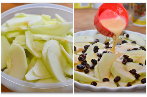 Яблочки и заливка их тестом