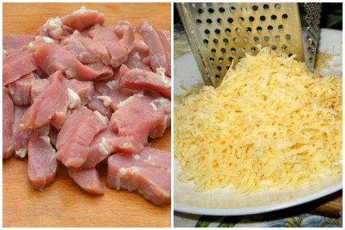 Нарезаем мясо и трем сыр