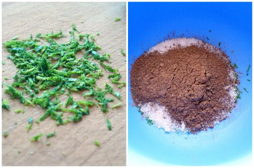 Натираем цедру и соединяем какао с сахаром