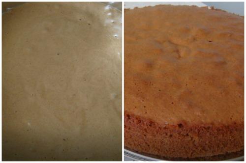 Тесто в форме и свежеиспеченный корж