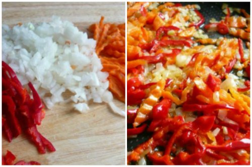 Нарезка и обжарка овощей