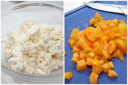 Творожок и нарезка абрикосов