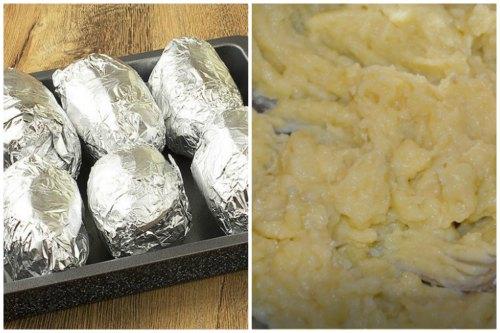 Запеченный картофель разминаем в пюре