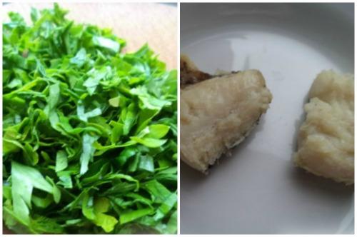 Зелень и кусочки рыбки для финального оформления блюда