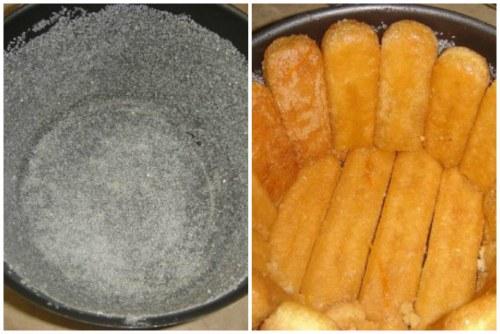 Промазывание стенок формы маслом с сахарной пудрой и выкладывание палочек