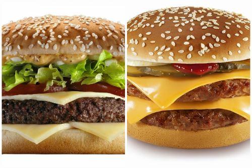Обычный и двойной вариант чизбургера