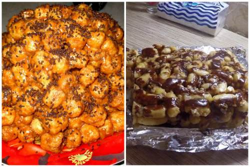 Торт с ирисками и кукурузными палочками
