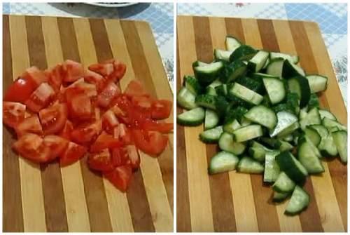 Крупная нарезка огурцов и помидоров