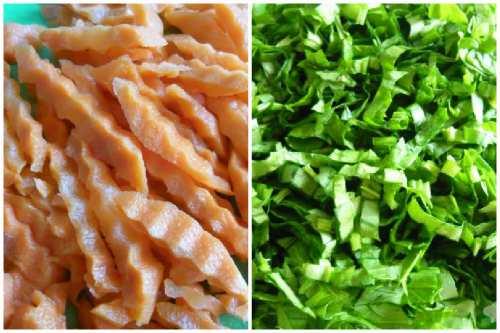 Нарезка морковки и щавеля