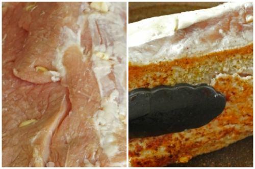 Нашпиговываем и обжариваем мясо