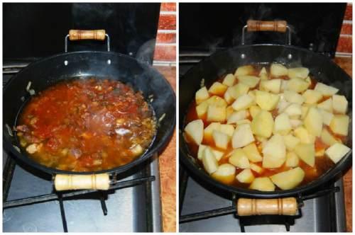 Подлива и добавление картошки