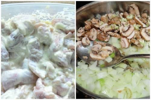 Маринованное мясо, грибы и лук
