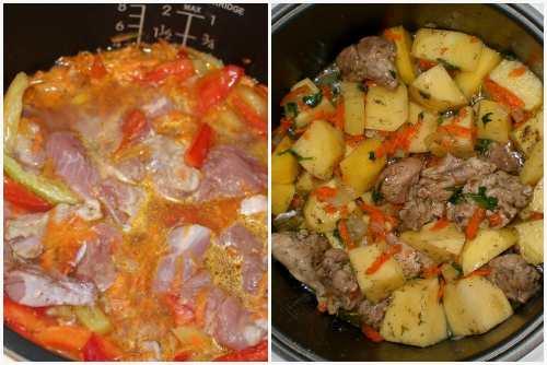 добавить овощи и картофель