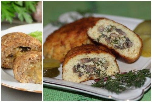 с сыром, мясом и грибами
