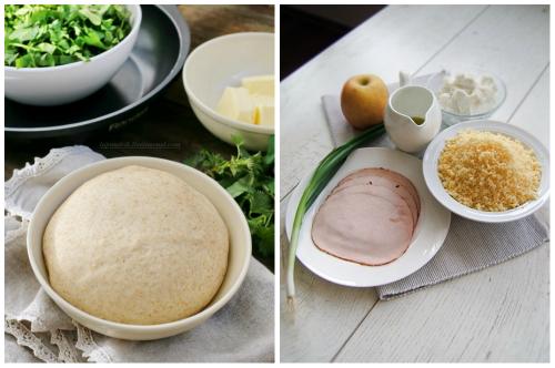 тесто и сыр с ветчиной