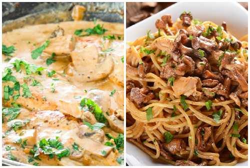макароны с грибами и сыром