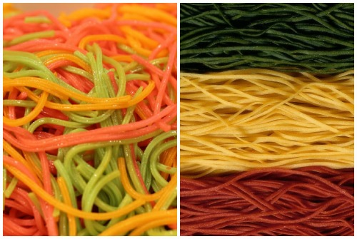 яркие спагетти