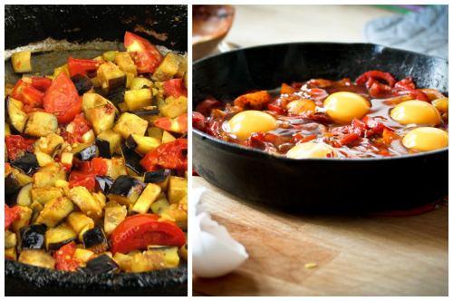 обжарка овощей и добавление яиц