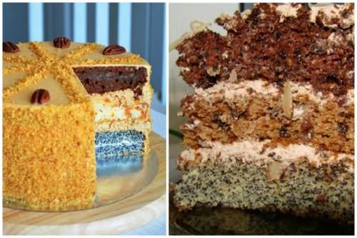 тортик с маковой и ореховой начинкой