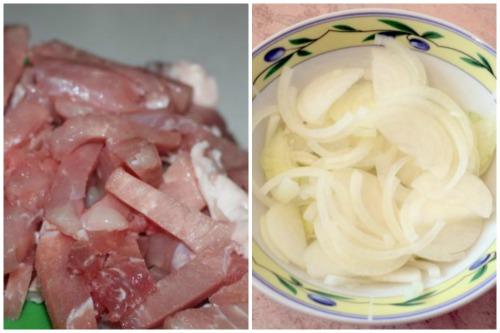 Нарезанные мясо и лучок