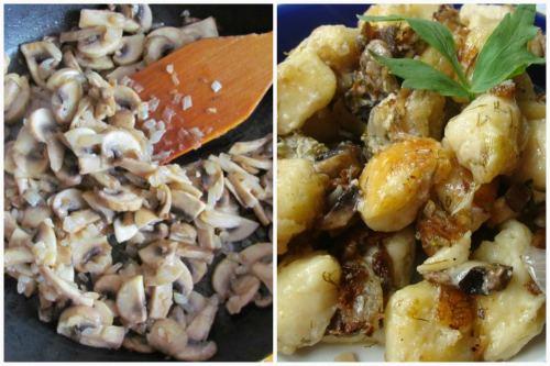 Обжарка грибов и готовое кушанье
