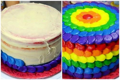 Процесс украшения и готовый десерт