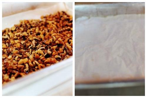 Поджаренные орешки и тесто