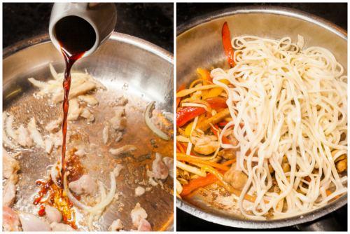 Добавление соевого соуса и лапши