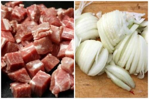 Нарезка свининки и лучка