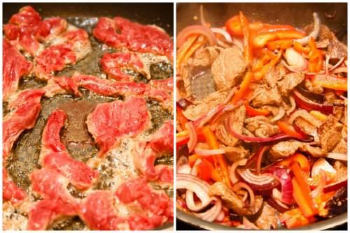 Подрумяниваем говядинку и овощи